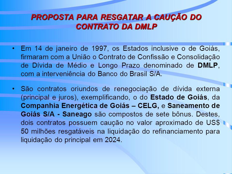 PROPOSTA PARA RESGATAR A CAUÇÃO DO CONTRATO DA DMLP Em 14 de janeiro de 1997, os Estados inclusive o de Goiás, firmaram com a União o Contrato de Confissão e Consolidação de Dívida de Médio e Longo Prazo denominado de DMLP, com a interveniência do Banco do Brasil S/A.