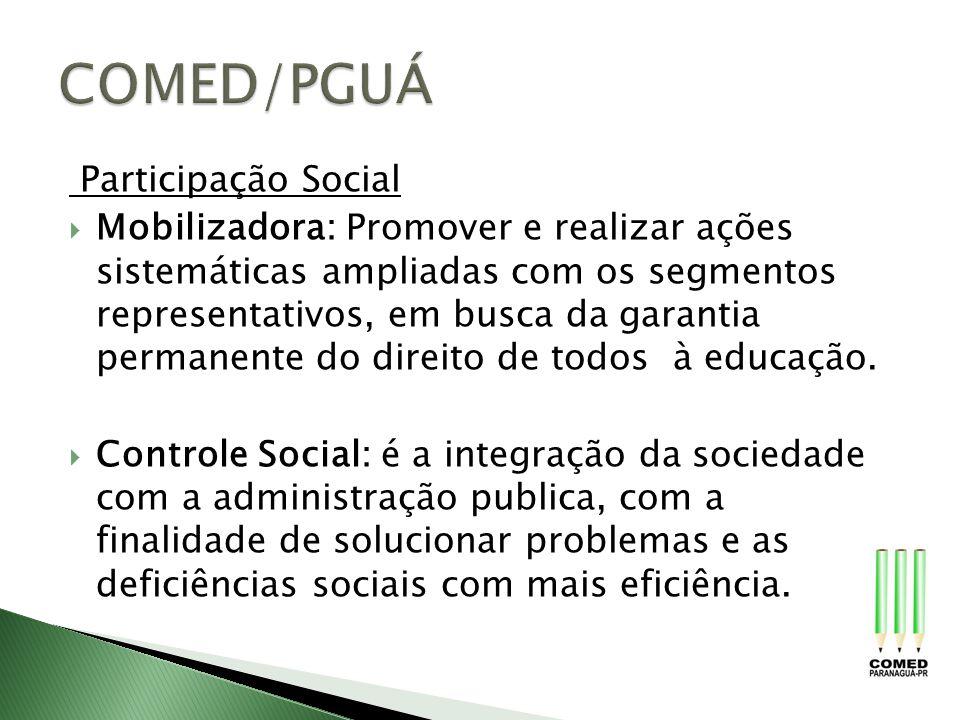 Participação Social Mobilizadora: Promover e realizar ações sistemáticas ampliadas com os segmentos representativos, em busca da garantia permanente d