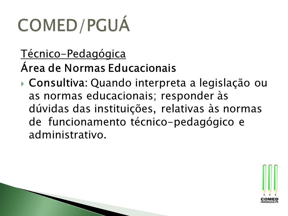 Técnico-Pedagógica Área de Normas Educacionais Consultiva: Quando interpreta a legislação ou as normas educacionais; responder às dúvidas das institui