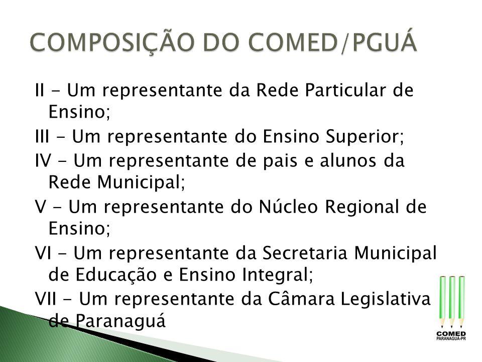 II - Um representante da Rede Particular de Ensino; III - Um representante do Ensino Superior; IV - Um representante de pais e alunos da Rede Municipa