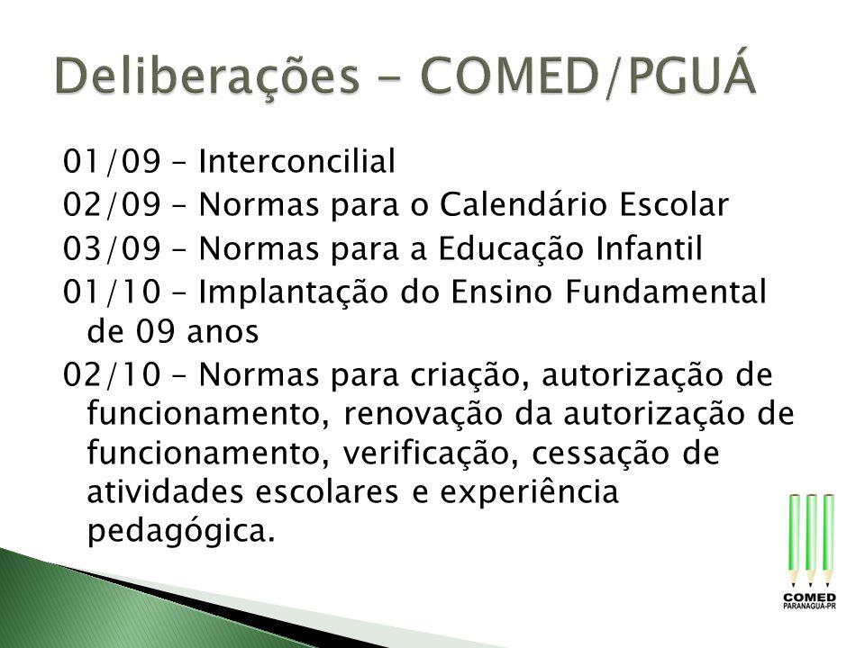01/09 – Interconcilial 02/09 – Normas para o Calendário Escolar 03/09 – Normas para a Educação Infantil 01/10 – Implantação do Ensino Fundamental de 0