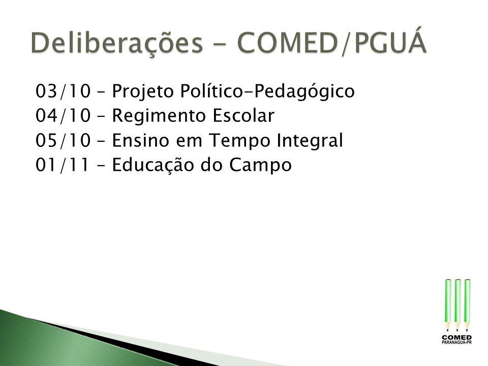 03/10 – Projeto Político-Pedagógico 04/10 – Regimento Escolar 05/10 – Ensino em Tempo Integral 01/11 – Educação do Campo