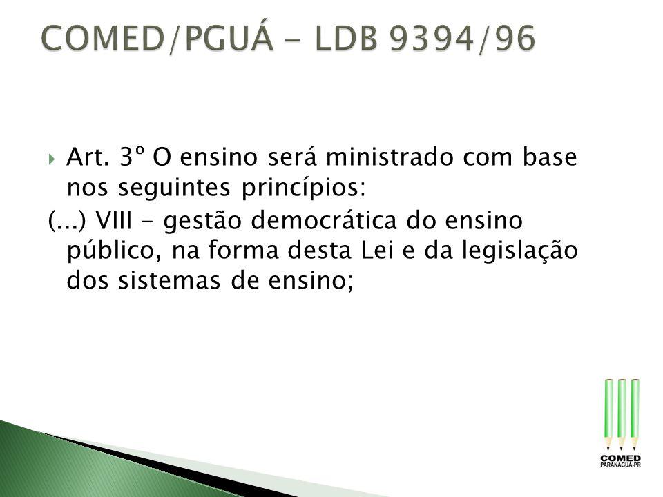 Art. 3º O ensino será ministrado com base nos seguintes princípios: (...) VIII - gestão democrática do ensino público, na forma desta Lei e da legisla