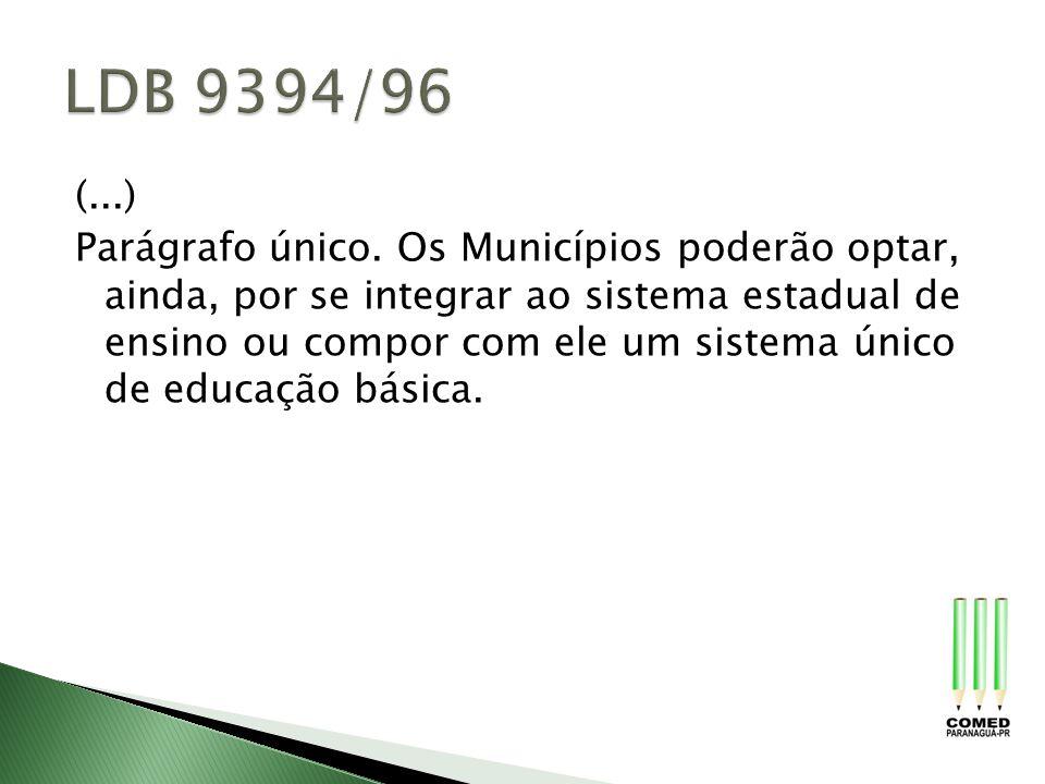 (...) Parágrafo único. Os Municípios poderão optar, ainda, por se integrar ao sistema estadual de ensino ou compor com ele um sistema único de educaçã