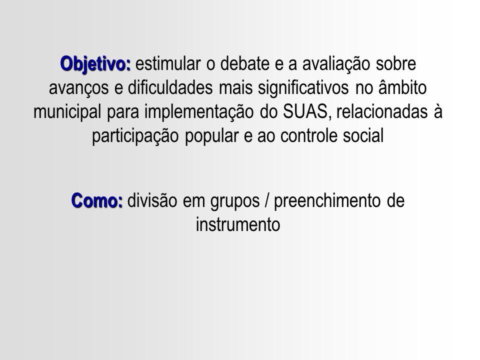 Documento CNAS: As discussões deverão ser conduzidas de modo que os municípios, ao final, elejam suas prioridades dentre os diferentes subtemas.