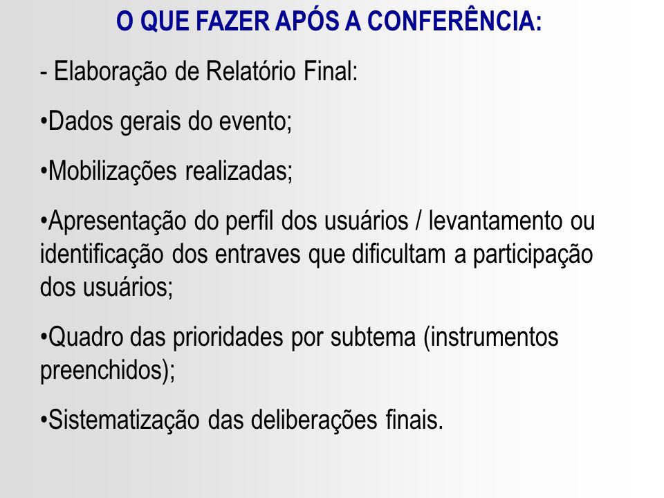 O QUE FAZER APÓS A CONFERÊNCIA: - Elaboração de Relatório Final: Dados gerais do evento; Mobilizações realizadas; Apresentação do perfil dos usuários