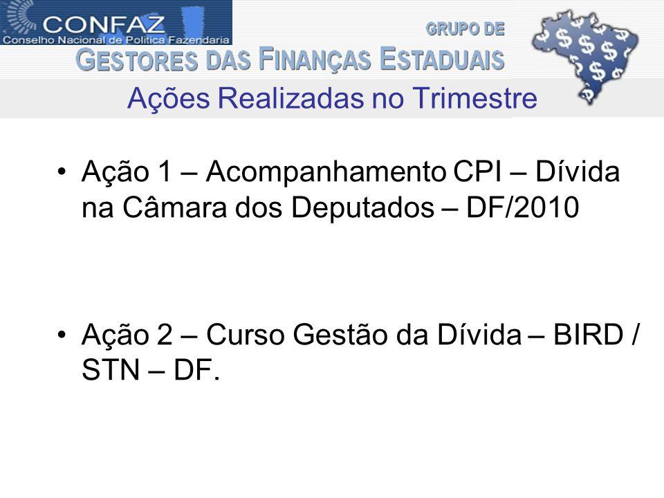 Ação 1 – Acompanhamento CPI – Dívida na Câmara dos Deputados – DF/2010 Ação 2 – Curso Gestão da Dívida – BIRD / STN – DF. Ações Realizadas no Trimestr