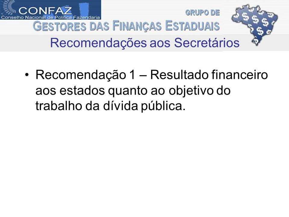 Recomendação 1 – Resultado financeiro aos estados quanto ao objetivo do trabalho da dívida pública. Recomendações aos Secretários