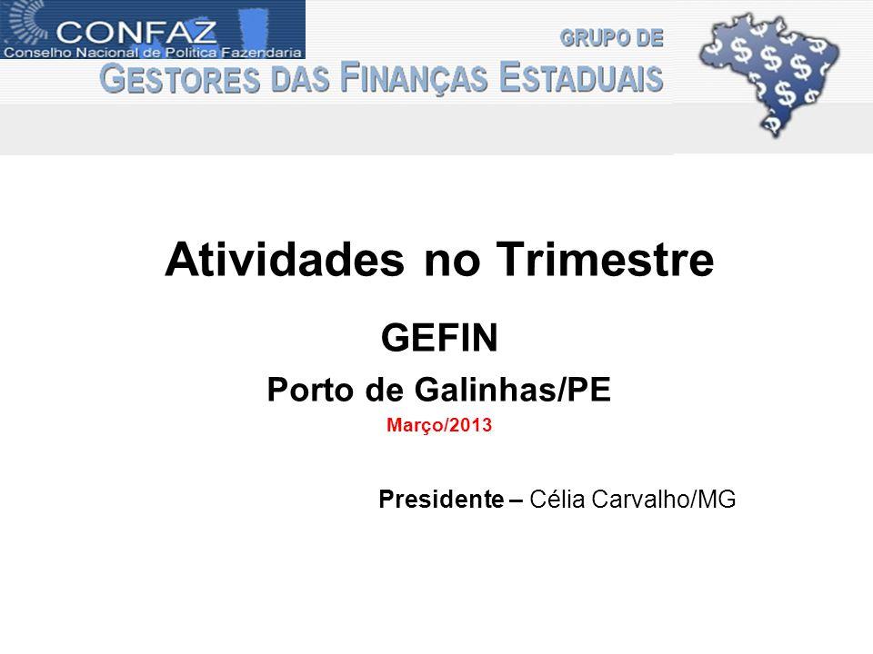 Atividades no Trimestre GEFIN Porto de Galinhas/PE Março/2013 Presidente – Célia Carvalho/MG