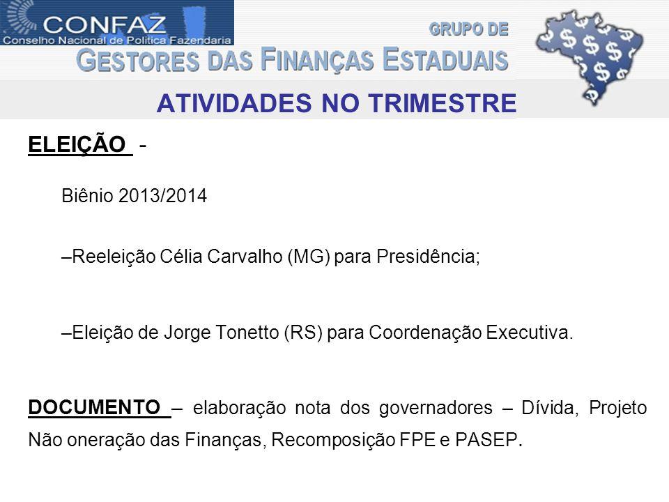 ATIVIDADES NO TRIMESTRE ELEIÇÃO - Biênio 2013/2014 –Reeleição Célia Carvalho (MG) para Presidência; –Eleição de Jorge Tonetto (RS) para Coordenação Executiva.