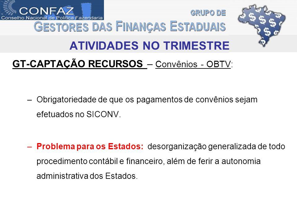 ATIVIDADES NO TRIMESTRE GT-CAPTAÇÃO RECURSOS – Convênios - OBTV : –Obrigatoriedade de que os pagamentos de convênios sejam efetuados no SICONV.