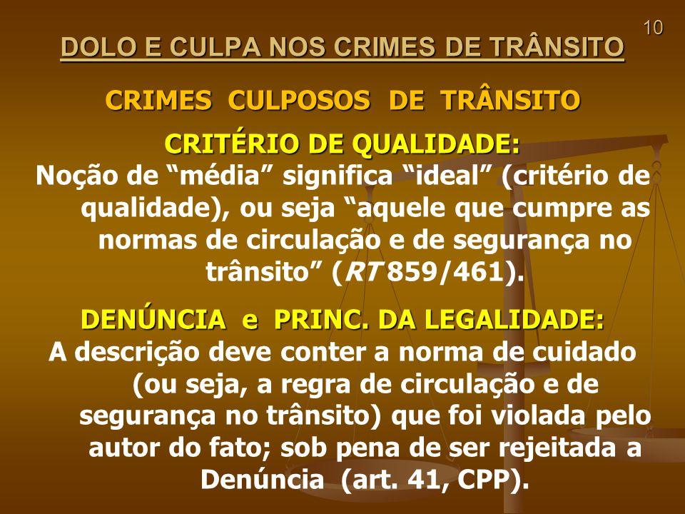 10 DOLO E CULPA NOS CRIMES DE TRÂNSITO CRIMES CULPOSOS DE TRÂNSITO CRITÉRIO DE QUALIDADE: Noção de média significa ideal (critério de qualidade), ou s