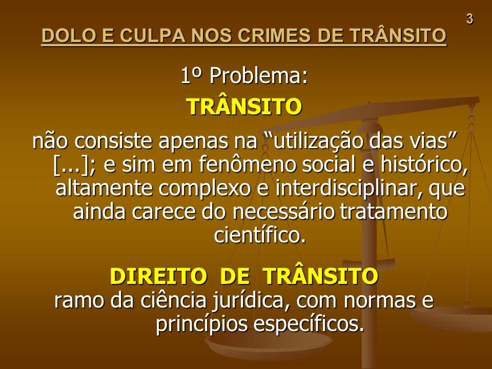 3 DOLO E CULPA NOS CRIMES DE TRÂNSITO 1º Problema: TRÂNSITO não consiste apenas na utilização das vias [...]; e sim em fenômeno social e histórico, al