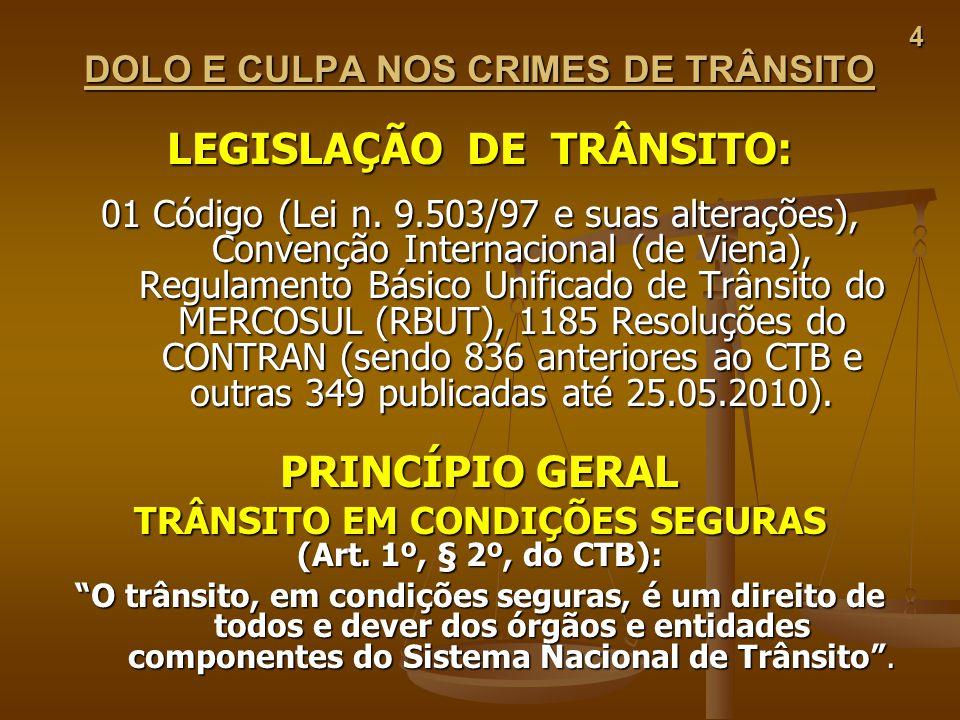 4 DOLO E CULPA NOS CRIMES DE TRÂNSITO LEGISLAÇÃO DE TRÂNSITO: 01 Código (Lei n. 9.503/97 e suas alterações), Convenção Internacional (de Viena), Regul