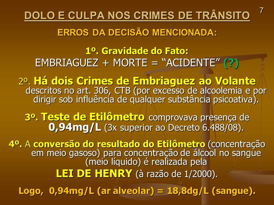7 DOLO E CULPA NOS CRIMES DE TRÂNSITO ERROS DA DECISÃO MENCIONADA: 1º. Gravidade do Fato: EMBRIAGUEZ + MORTE = ACIDENTE (?) 2º. Há dois Crimes de Embr