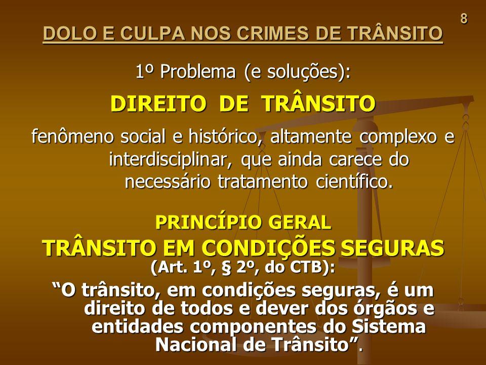 8 DOLO E CULPA NOS CRIMES DE TRÂNSITO 1º Problema (e soluções): DIREITO DE TRÂNSITO fenômeno social e histórico, altamente complexo e interdisciplinar