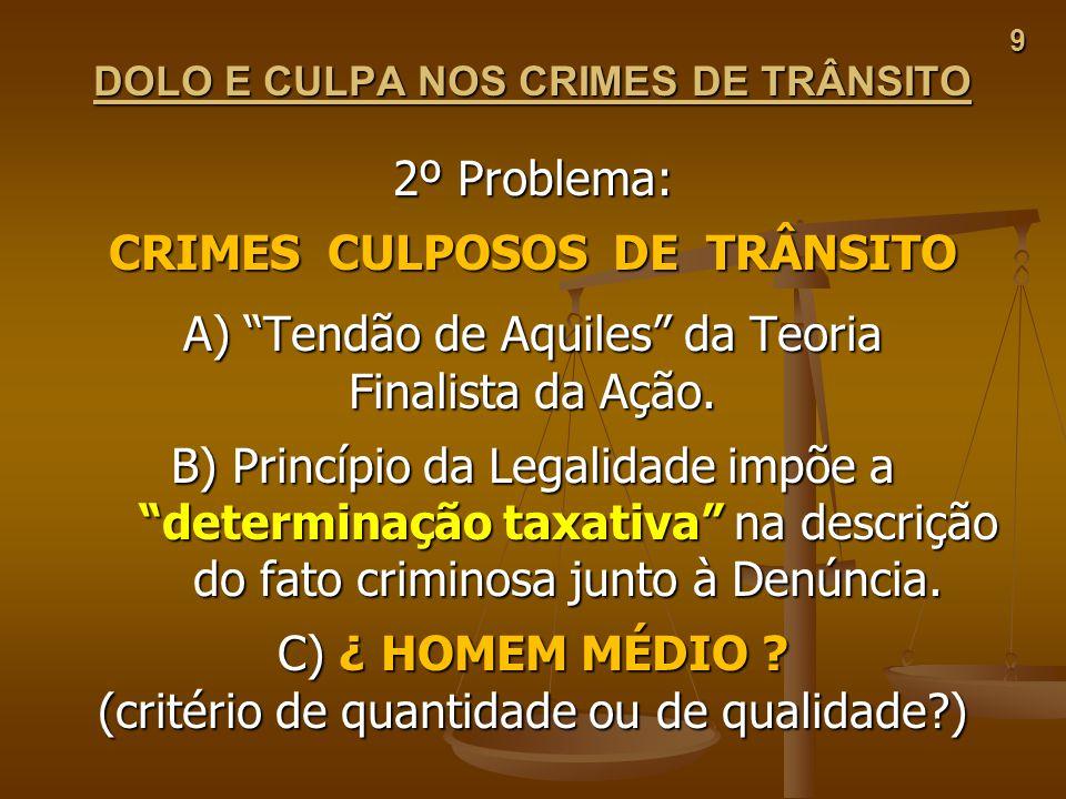 9 DOLO E CULPA NOS CRIMES DE TRÂNSITO 2º Problema: CRIMES CULPOSOS DE TRÂNSITO A) Tendão de Aquiles da Teoria Finalista da Ação. B) Princípio da Legal