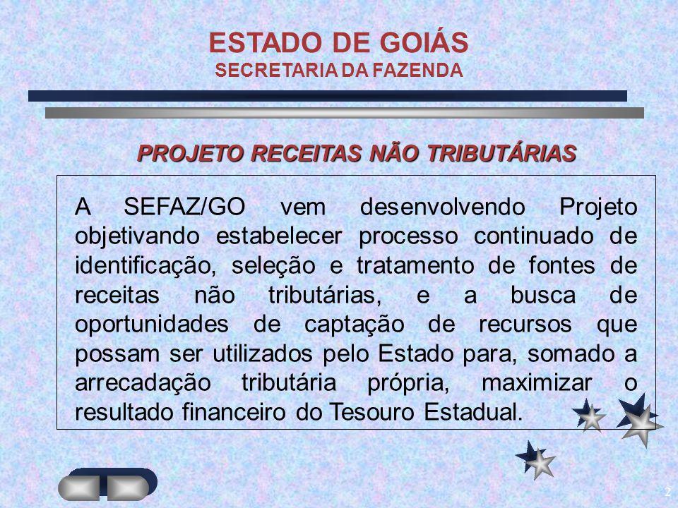 2 ESTADO DE GOIÁS SECRETARIA DA FAZENDA A SEFAZ/GO vem desenvolvendo Projeto objetivando estabelecer processo continuado de identificação, seleção e t