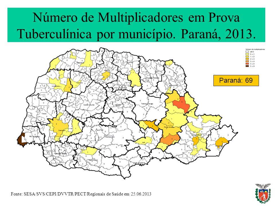 Número de Multiplicadores em Prova Tuberculínica por município.