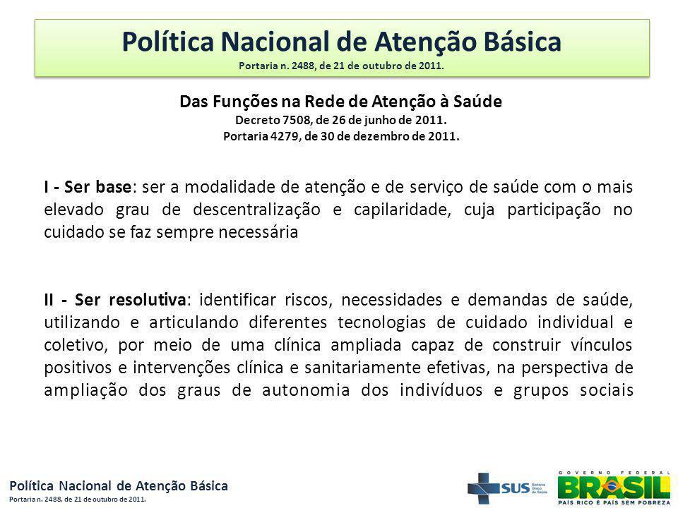 Política Nacional de Atenção Básica Portaria n. 2488, de 21 de outubro de 2011. Das Funções na Rede de Atenção à Saúde Decreto 7508, de 26 de junho de