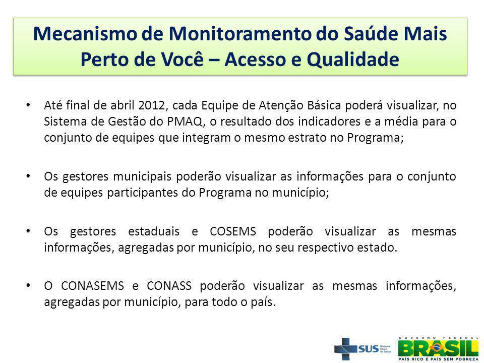25 Até final de abril 2012, cada Equipe de Atenção Básica poderá visualizar, no Sistema de Gestão do PMAQ, o resultado dos indicadores e a média para