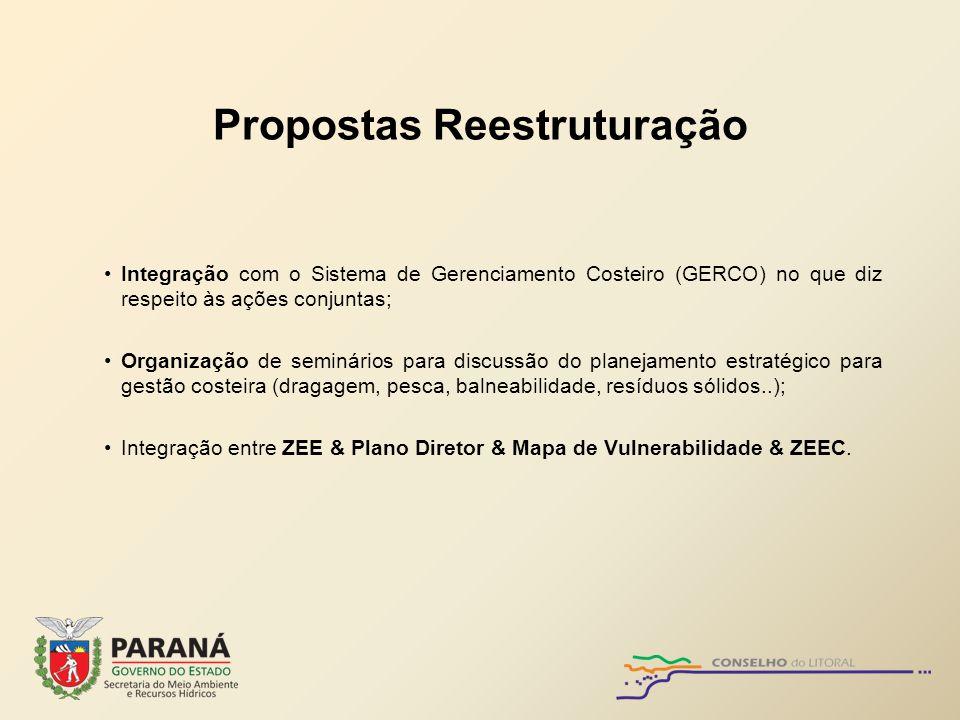 Propostas Reestruturação Integração com o Sistema de Gerenciamento Costeiro (GERCO) no que diz respeito às ações conjuntas; Organização de seminários