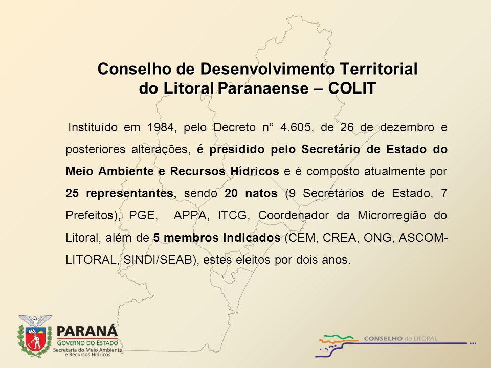 Conselho de Desenvolvimento Territorial do Litoral Paranaense – COLIT Instituído em 1984, pelo Decreto n° 4.605, de 26 de dezembro e posteriores alter