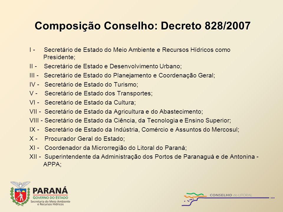 Composição Conselho: Decreto 828/2007 I - Secretário de Estado do Meio Ambiente e Recursos Hídricos como Presidente; II - Secretário de Estado e Desen