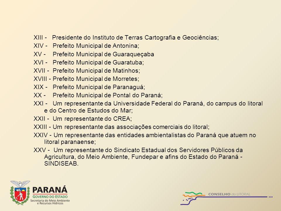 XIII - Presidente do Instituto de Terras Cartografia e Geociências; XIV - Prefeito Municipal de Antonina; XV - Prefeito Municipal de Guaraqueçaba XVI