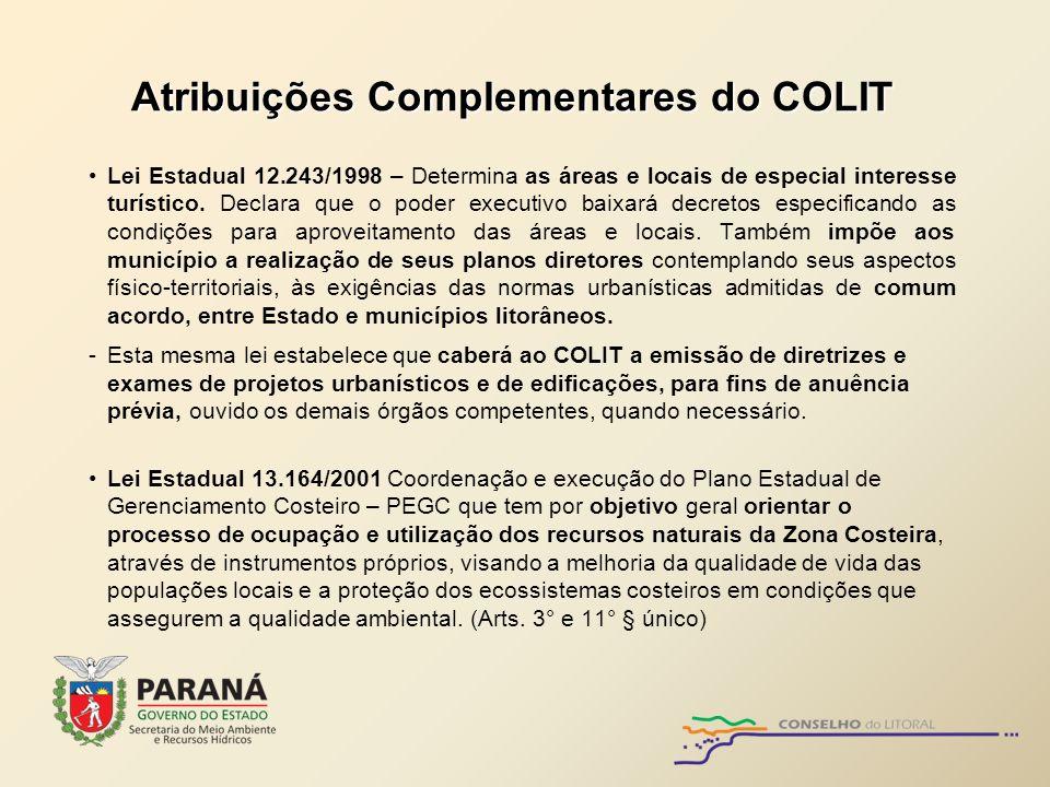 Atribuições Complementares do COLIT Lei Estadual 12.243/1998 – Determina as áreas e locais de especial interesse turístico. Declara que o poder execut