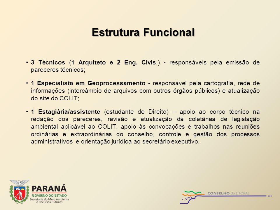 Estrutura Funcional 3 Técnicos (1 Arquiteto e 2 Eng. Civis.) - responsáveis pela emissão de pareceres técnicos; 1 Especialista em Geoprocessamento - r