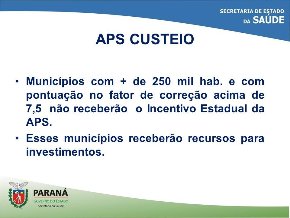 Municípios com + de 250 mil hab. e com pontuação no fator de correção acima de 7,5 não receberão o Incentivo Estadual da APS. Esses municípios receber