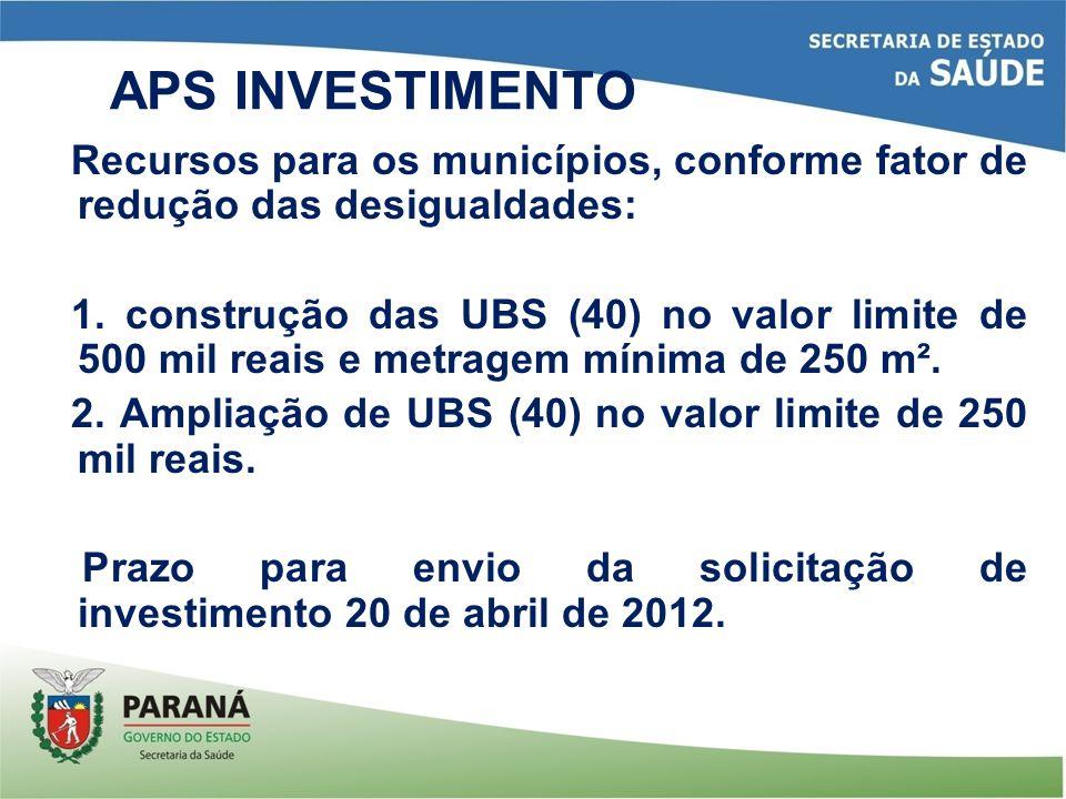APS INVESTIMENTO Recursos para os municípios, conforme fator de redução das desigualdades: 1. construção das UBS (40) no valor limite de 500 mil reais