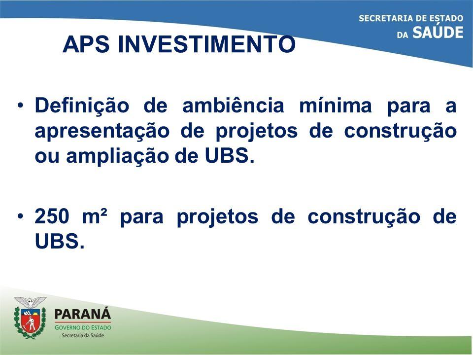 Definição de ambiência mínima para a apresentação de projetos de construção ou ampliação de UBS. 250 m² para projetos de construção de UBS. APS INVEST