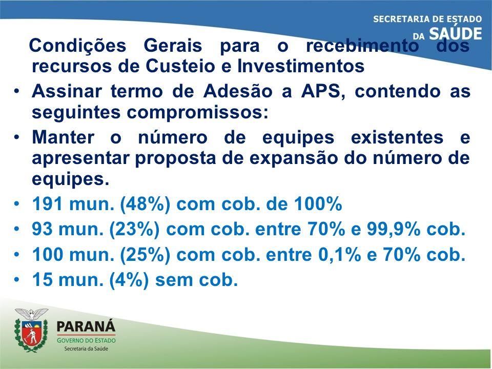 Condições Gerais para o recebimento dos recursos de Custeio e Investimentos Assinar termo de Adesão a APS, contendo as seguintes compromissos: Manter