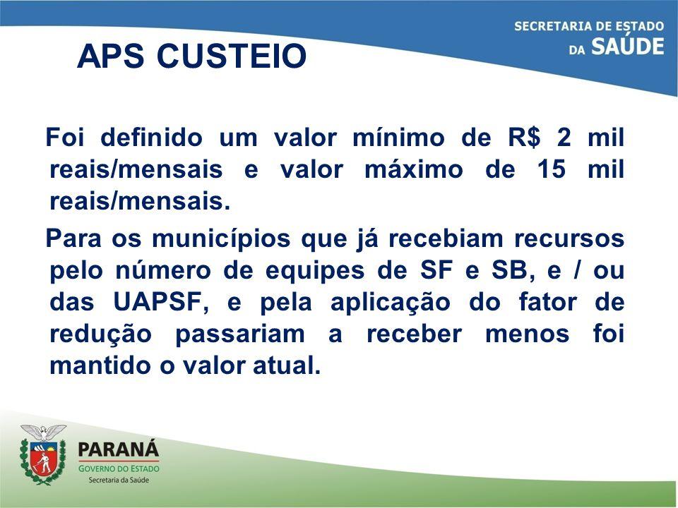 Foi definido um valor mínimo de R$ 2 mil reais/mensais e valor máximo de 15 mil reais/mensais. Para os municípios que já recebiam recursos pelo número