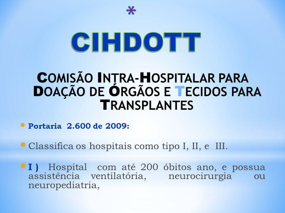 C OMISÃO I NTRA- H OSPITALAR PARA D OAÇÃO DE Ó RGÃOS E T ECIDOS PARA T RANSPLANTES Portaria 2.600 de 2009: Classifica os hospitais como tipo I, II, e III.