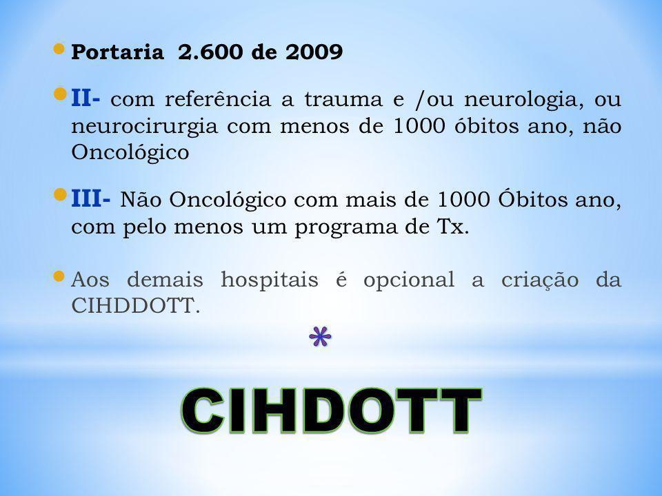 Portaria 2.600 de 2009 II- com referência a trauma e /ou neurologia, ou neurocirurgia com menos de 1000 óbitos ano, não Oncológico III- Não Oncológico com mais de 1000 Óbitos ano, com pelo menos um programa de Tx.