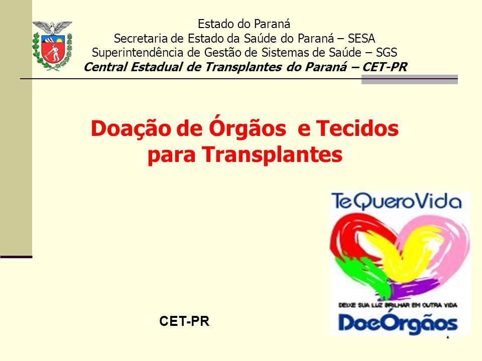 1 CET-PR Estado do Paraná Secretaria de Estado da Saúde do Paraná – SESA Superintendência de Gestão de Sistemas de Saúde – SGS Central Estadual de Tra