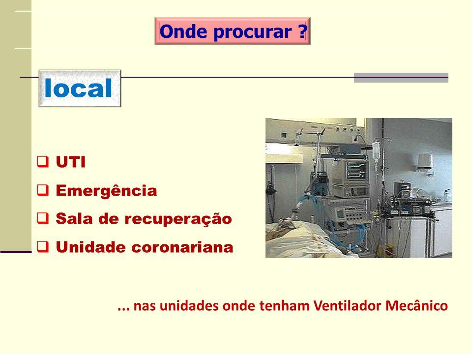local UTI Emergência Sala de recuperação Unidade coronariana Onde procurar ?... nas unidades onde tenham Ventilador Mecânico