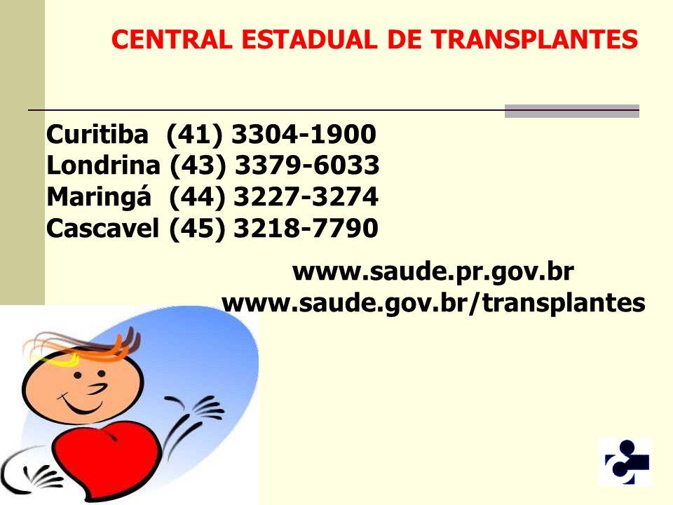 CENTRAL ESTADUAL DE TRANSPLANTES Curitiba (41) 3304-1900 Londrina (43) 3379-6033 Maringá (44) 3227-3274 Cascavel (45) 3218-7790 www.saude.pr.gov.br ww