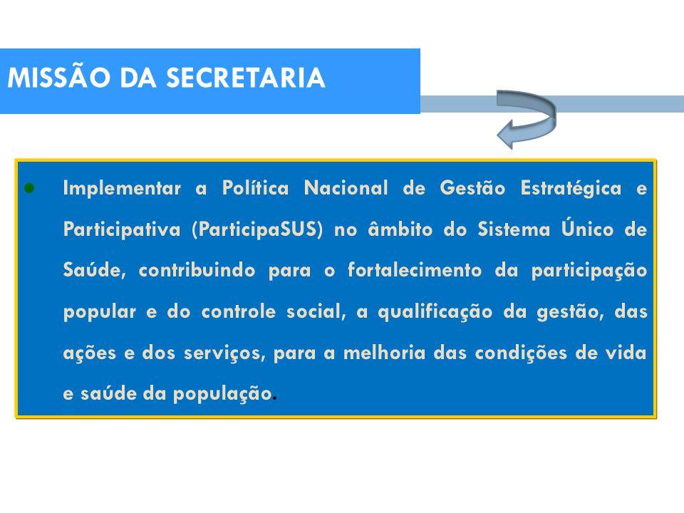 Implementar a Política Nacional de Gestão Estratégica e Participativa (ParticipaSUS) no âmbito do Sistema Único de Saúde, contribuindo para o fortalec