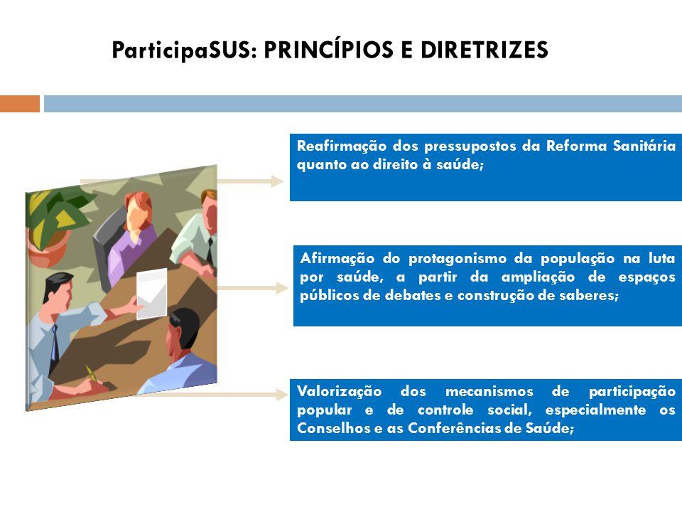 Reafirmação dos pressupostos da Reforma Sanitária quanto ao direito à saúde; Afirmação do protagonismo da população na luta por saúde, a partir da amp