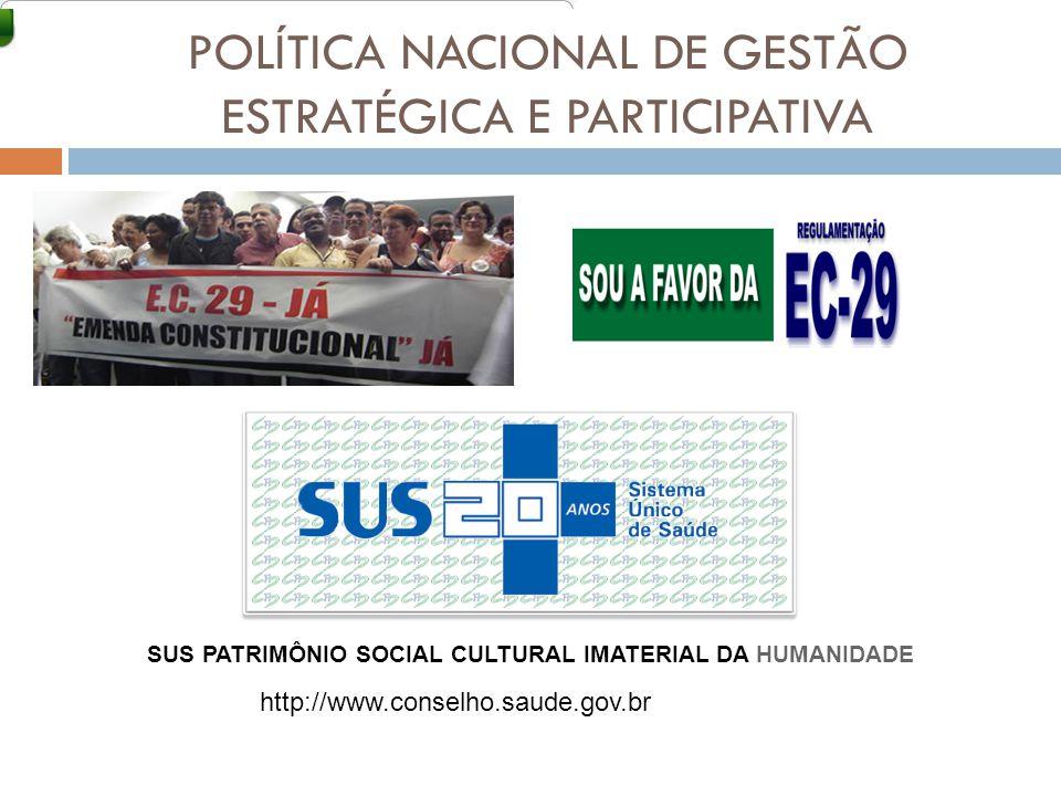POLÍTICA NACIONAL DE GESTÃO ESTRATÉGICA E PARTICIPATIVA SUS PATRIMÔNIO SOCIAL CULTURAL IMATERIAL DA HUMANIDADE http://www.conselho.saude.gov.br