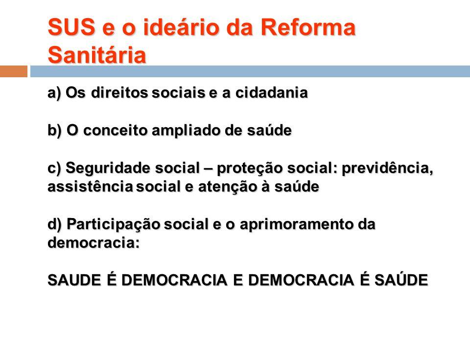 SUS e o ideário da Reforma Sanitária a) Os direitos sociais e a cidadania b) O conceito ampliado de saúde c) Seguridade social – proteção social: prev