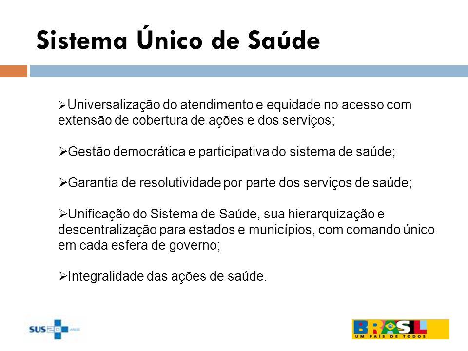 Sistema Único de Saúde Universalização do atendimento e equidade no acesso com extensão de cobertura de ações e dos serviços; Gestão democrática e par