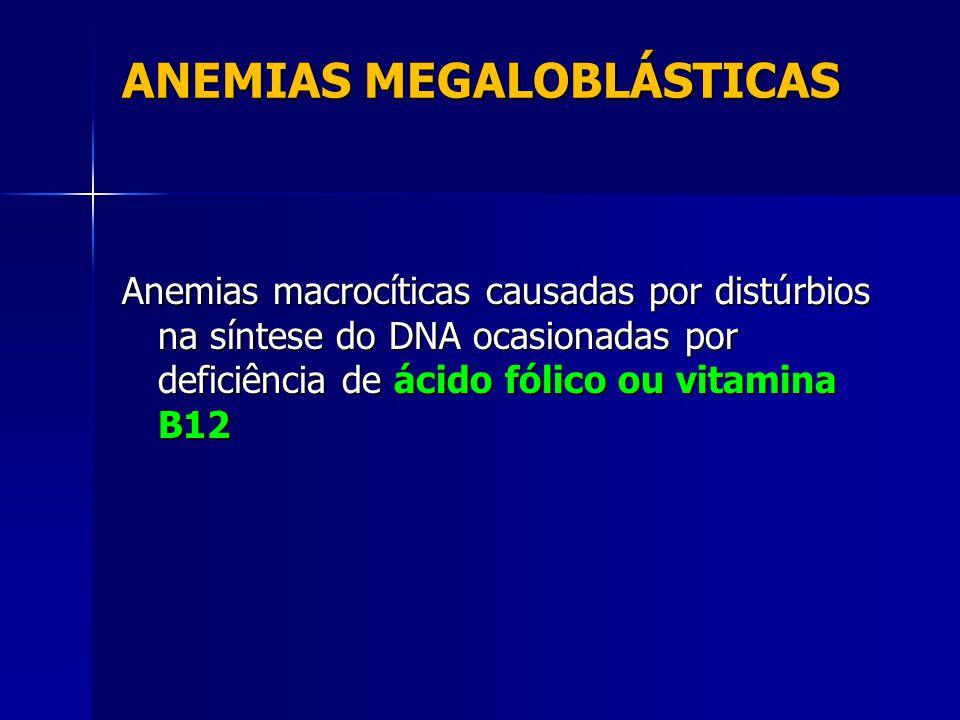 ANEMIAS MEGALOBLÁSTICAS Anemias macrocíticas causadas por distúrbios na síntese do DNA ocasionadas por deficiência de ácido fólico ou vitamina B12