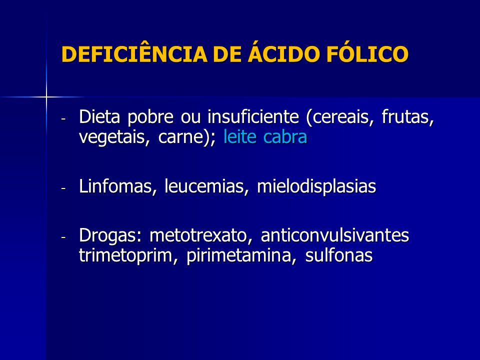 DEFICIÊNCIA DE ÁCIDO FÓLICO - Dieta pobre ou insuficiente (cereais, frutas, vegetais, carne); leite cabra - Linfomas, leucemias, mielodisplasias - Drogas: metotrexato, anticonvulsivantes trimetoprim, pirimetamina, sulfonas