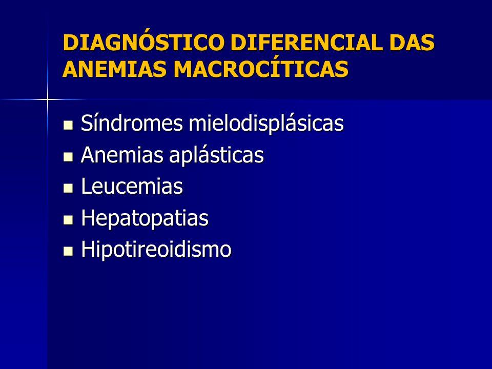 DIAGNÓSTICO DIFERENCIAL DAS ANEMIAS MACROCÍTICAS Síndromes mielodisplásicas Síndromes mielodisplásicas Anemias aplásticas Anemias aplásticas Leucemias Leucemias Hepatopatias Hepatopatias Hipotireoidismo Hipotireoidismo