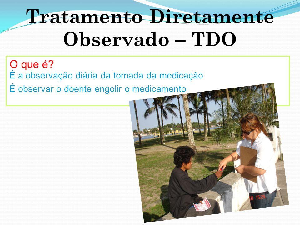 Tratamento Diretamente Observado – TDO O que é? É a observação diária da tomada da medicação É observar o doente engolir o medicamento